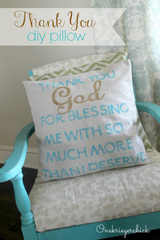 DIY Thank You pillow with Cricut iron-on vinyl