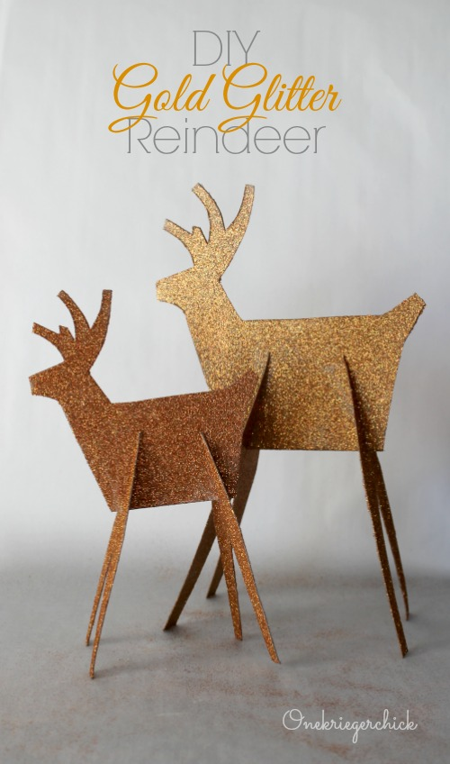 DIY Gold Glittered Reindeer {Onekriegerchick}