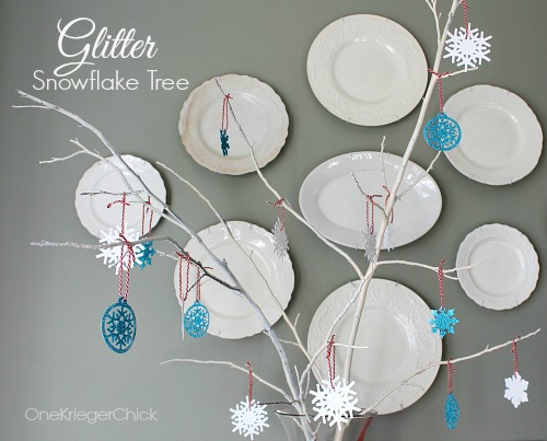 DIY glittered snowflake tree