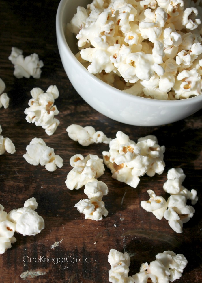 White Chocolate Popcorn- only 2 ingredients!