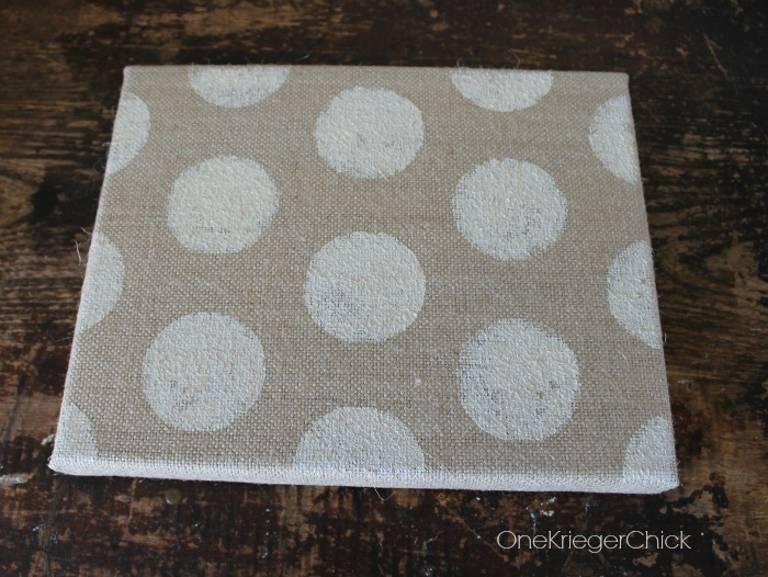 Stenciled-polka-dots-burlap-canvas