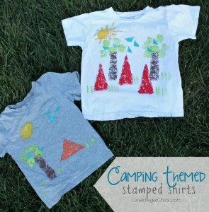 Camping Themed stamped shirts for Kids! OneKriegerChick.com