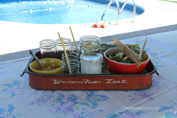 An Antique wagon makes a perfect serving tray! OneKriegerChick.com
