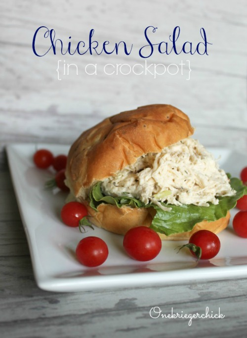 Chicken Salad in a crockpot {Onekriegerchick.com}
