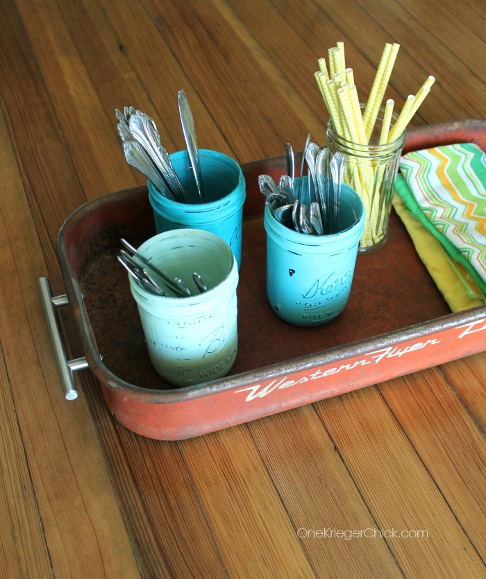 How to turn a wagon into a serving tray- OneKriegerChick.com
