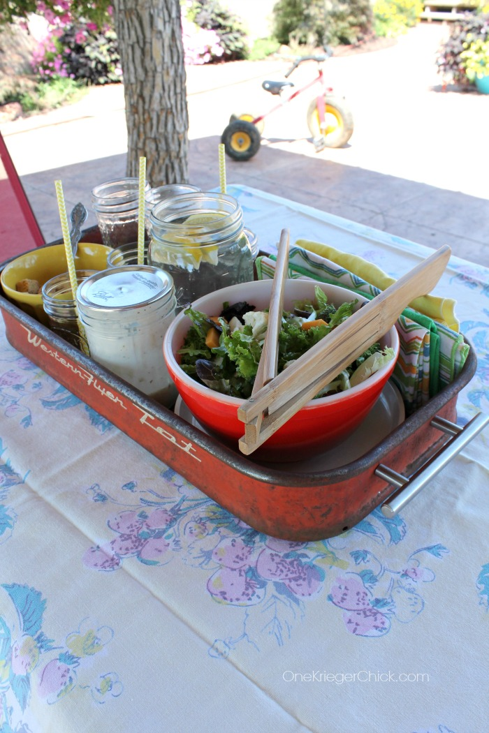 Turn a wagon into an outdoor serving tray-OneKriegerChick.com