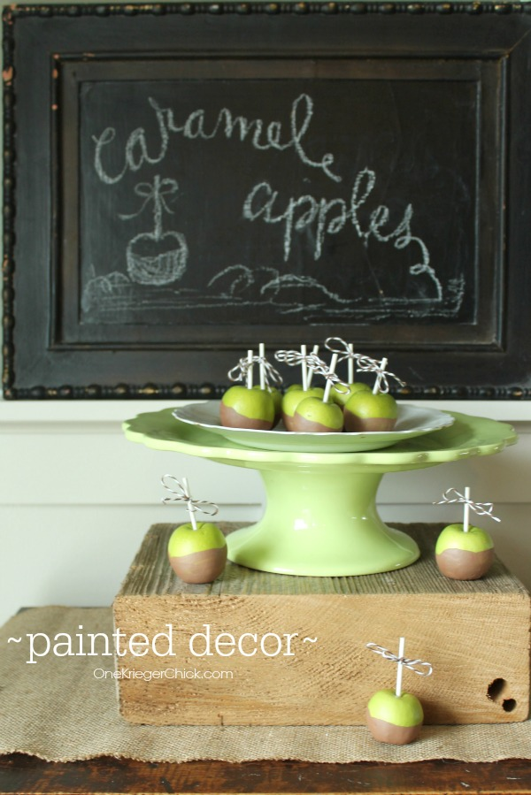 Painted-Caramel-Apples-Cute and easy home decor from OneKriegerChick.com