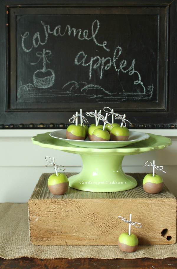 Painted Caramel Apples for Fall decor-OneKriegerChick.com