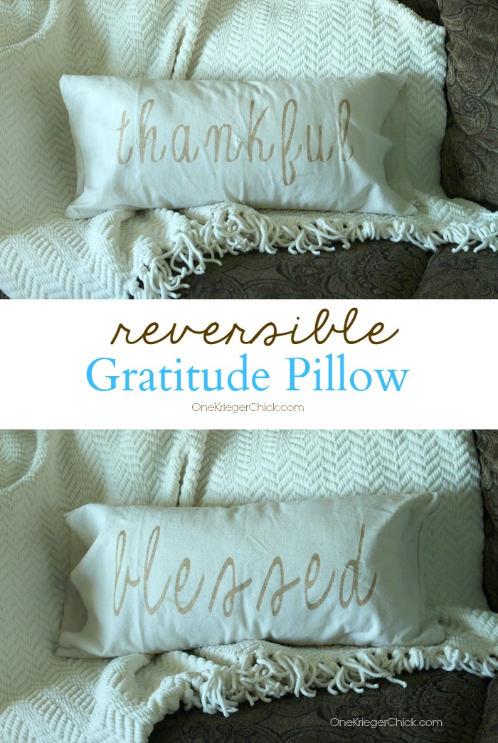 Reversible Gratitude Pillow- OneKriegerChick.com