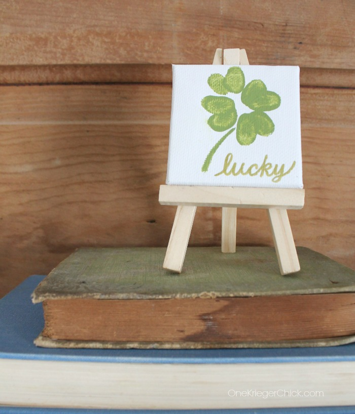 Lucky-Shamrock-Mini-Canvas-on-easel-Made-with-fingerprints! OneKriegerChick.com