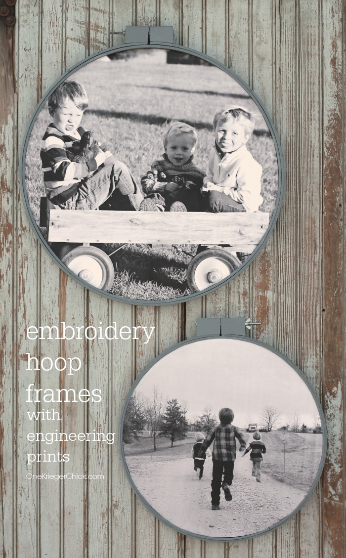 Embroidery Hoop Frames with Engineering prints- A fun way to display photos! OneKriegerChick.com