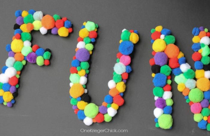 FUN Pom Pom Letters- OneKriegerChick.com