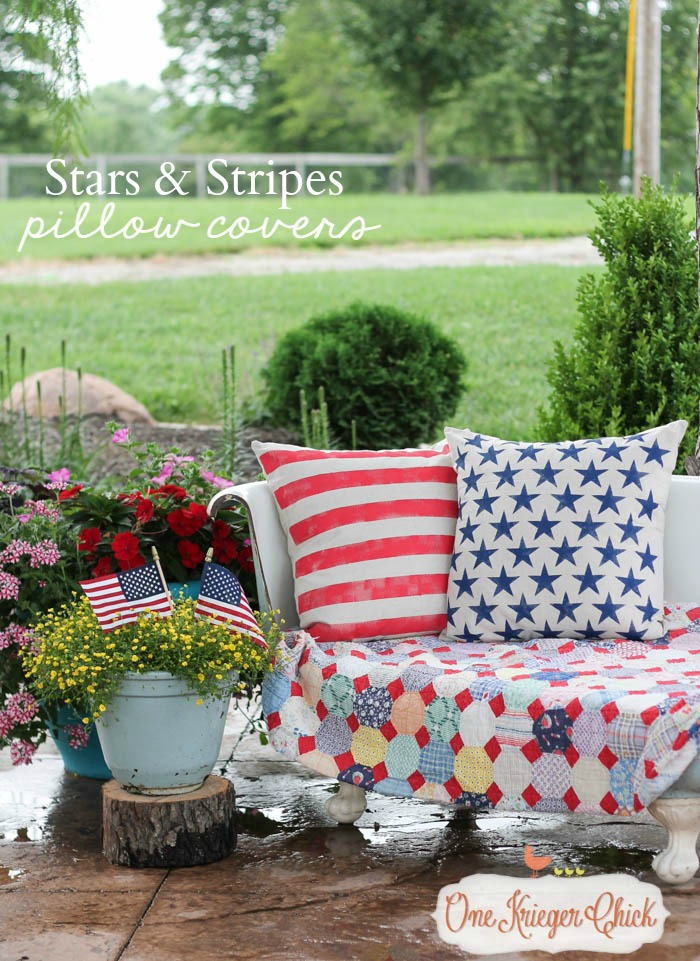 Stars and Stripes Pillow Covers- All American decor at OneKriegerChick.com