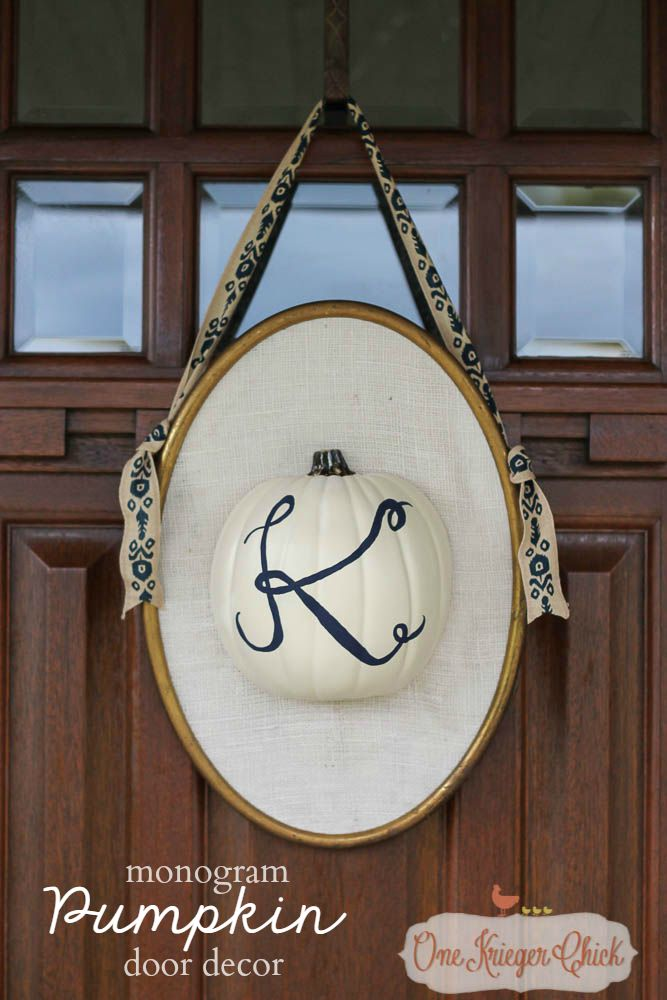 Monogram Pumpkin Door Decor-Perfect for fall! OneKriegerChick