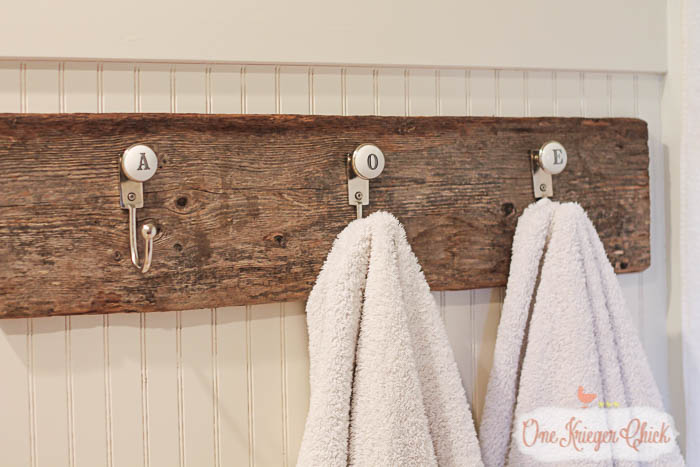 Country Style Monogrammed Towel Hooks- make this project in minutes with only 2 supplies!- OneKriegerChick.com