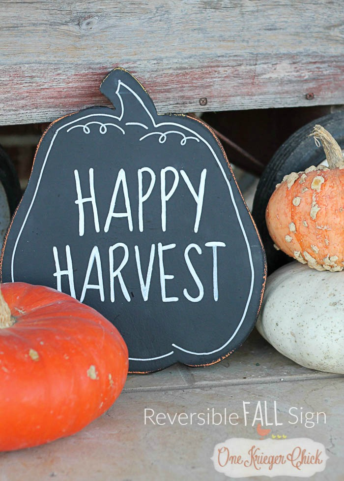 Harvest Sign On Barnwood For Fall Front Porch Decor: Reversible Fall Sign