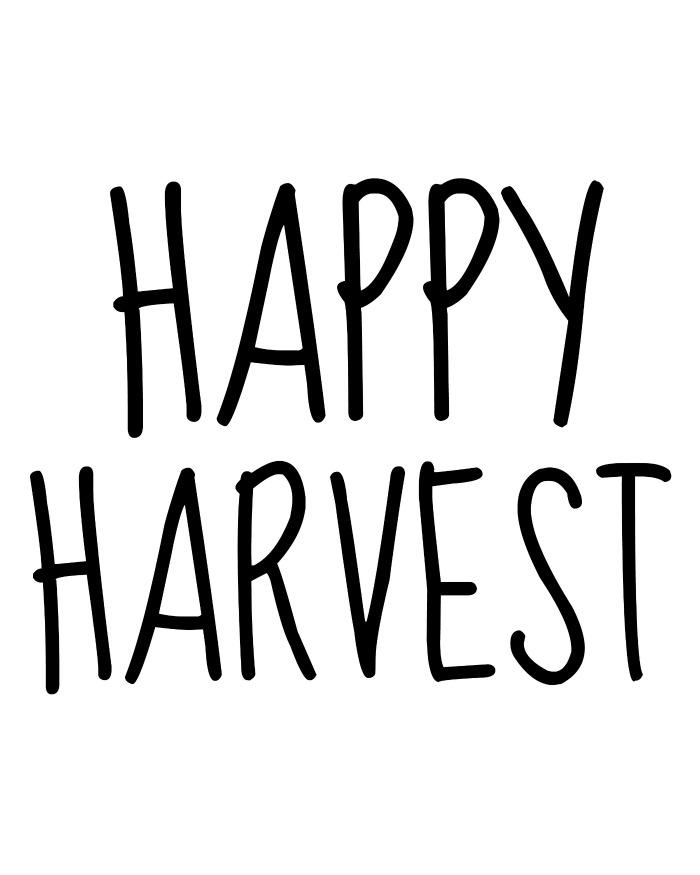 Happy Harvest- template for pumpkin sign- OneKriegerChick.com