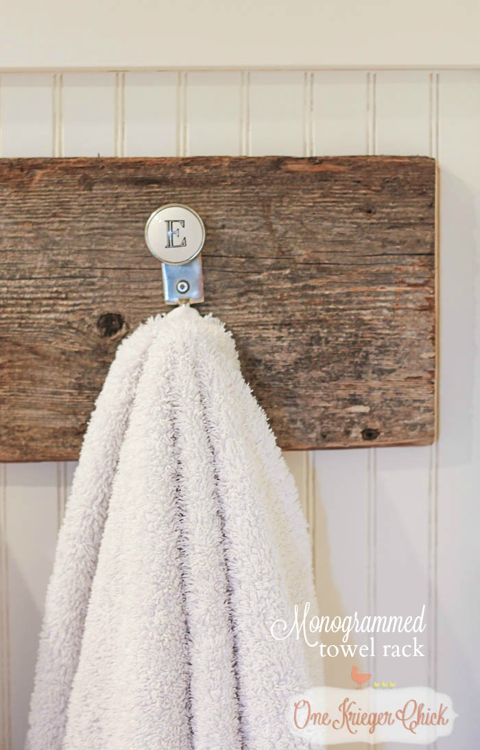 Monogrammed towel hooks- so quick to make! OneKriegerChick.com