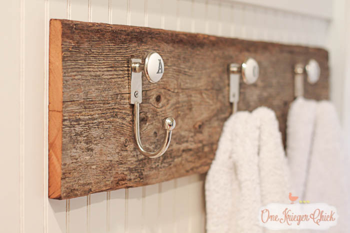 Monogrammed towel hooks- so quick to make with only 2 supplies! OneKriegerChick.com