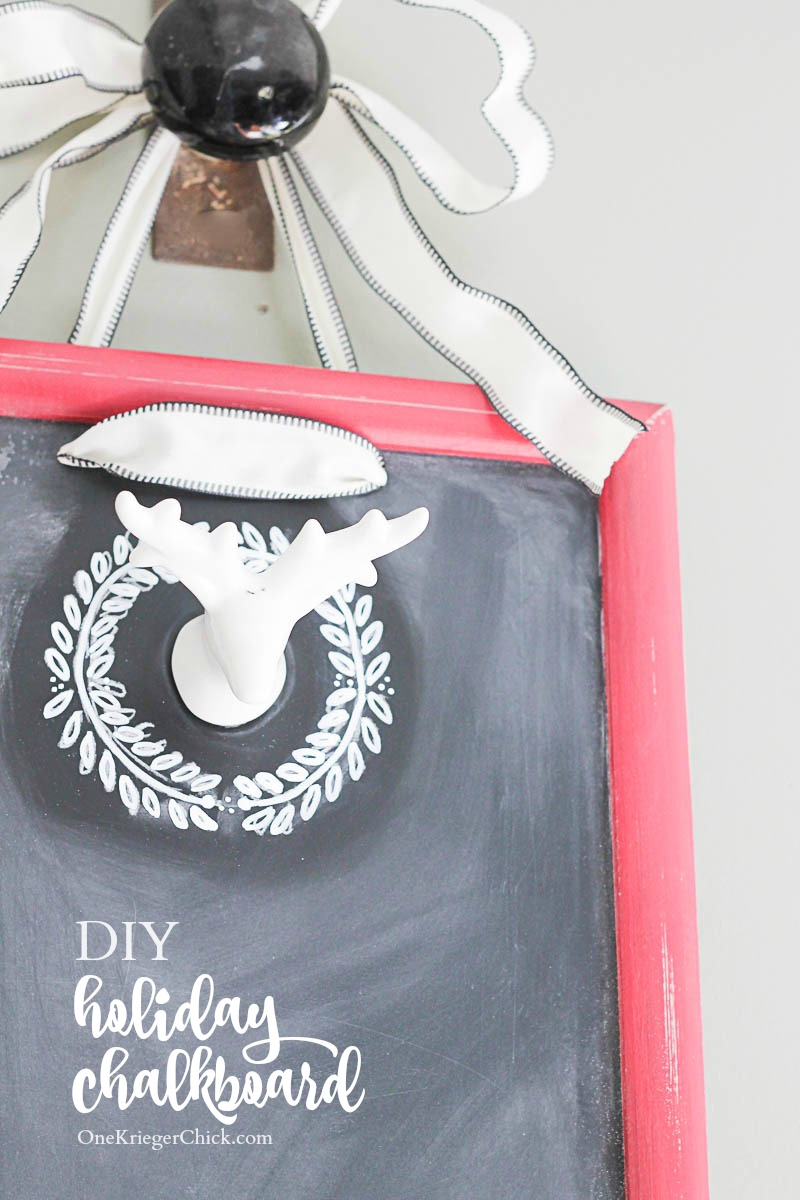 Make your own festive DIY chalkboard for the holidays! So many possibilities for decorating! OneKriegerChick.com