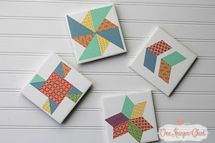 Quilt Block inspired Coasters-feature 2-12 OneKriegerChick