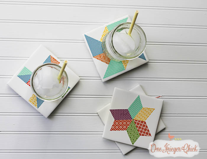 Quilt Block inspired Coasters-feature 2-13 OneKriegerChick
