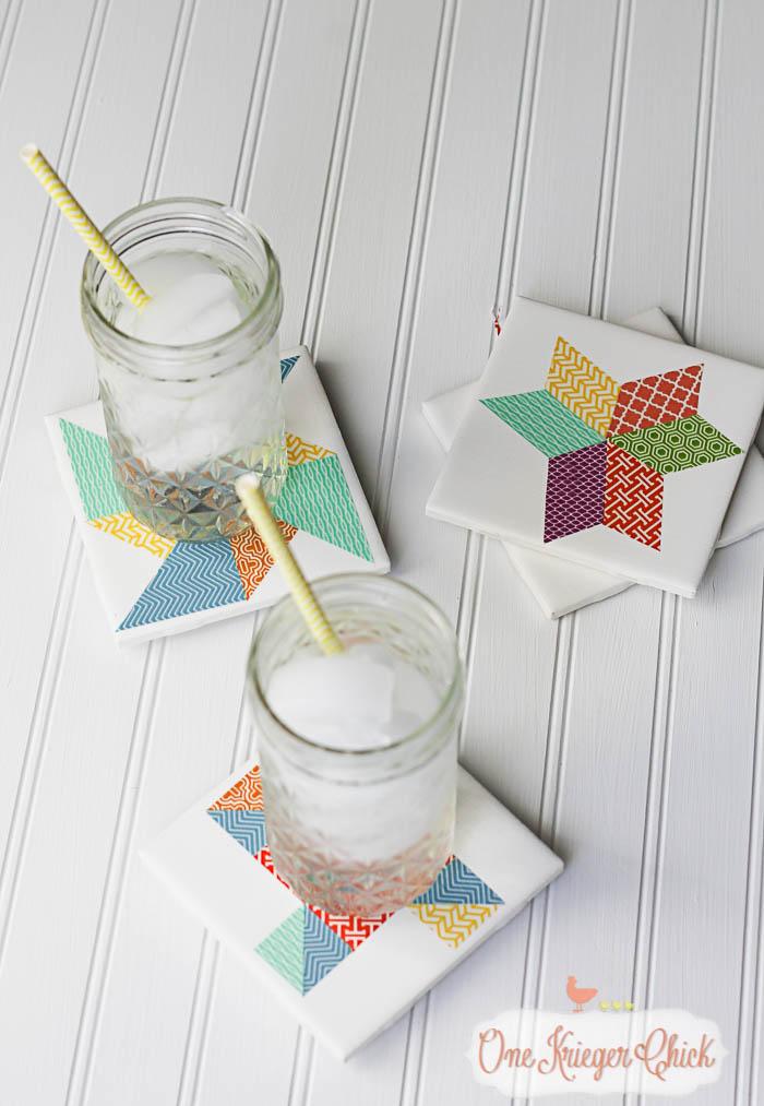 Quilt Block inspired Coasters-feature 2-14 OneKriegerChick