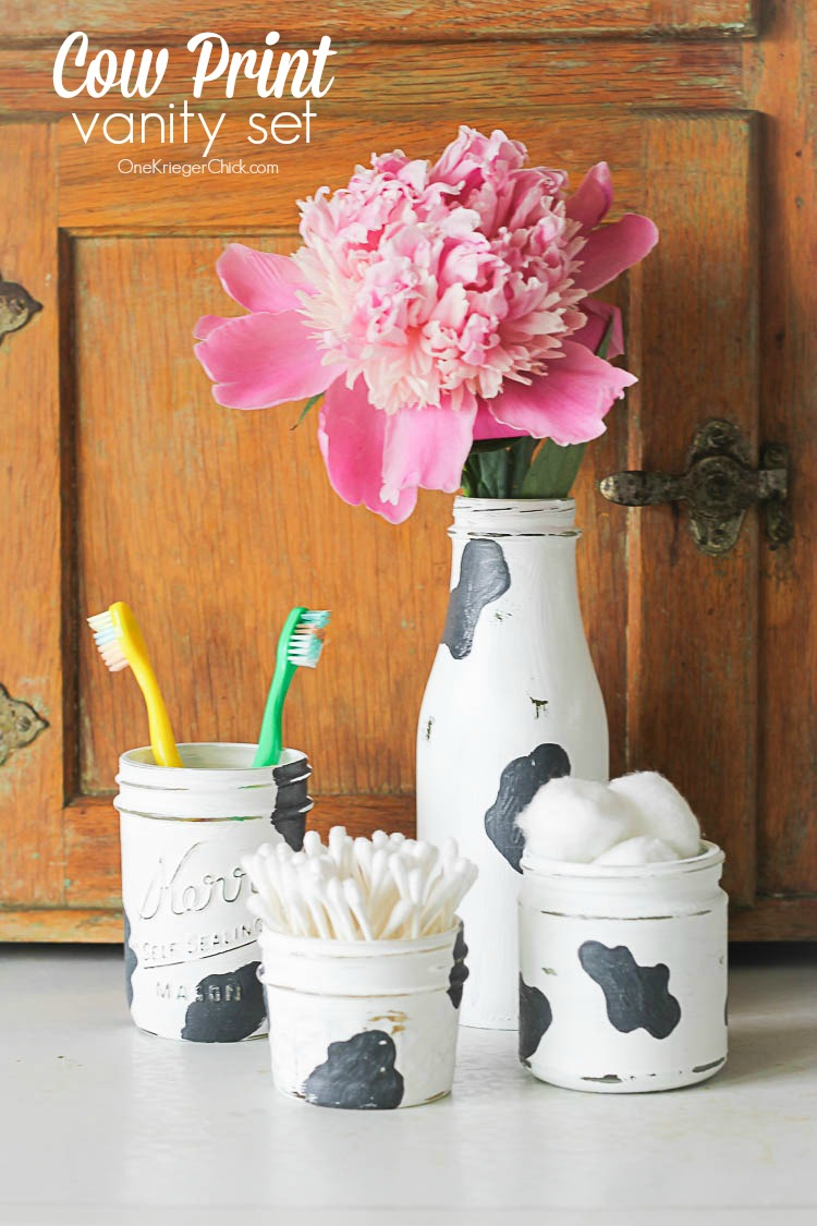 Make your own Cow Print Vanity Set- OneKriegerChick.com